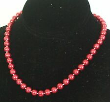 8MM Red South Sea Shell Pearl Necklace NEW (in a silk gift bag)