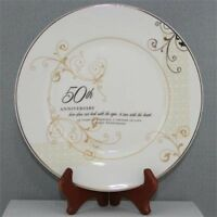 50th Anniversary Plate W/ Stand, Tabletop Accents Personalized Porcelain Gifts