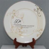 50th Anniversary Plate W/ Stand, Tabletop Accents Personalized Porcelain Gifts on sale