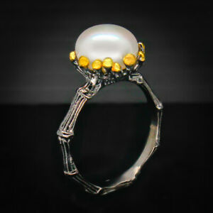 18k-gold-plated-Engagement-wedding-Natural-Pearl-925-Sterling-Silver-Ring-RVS50