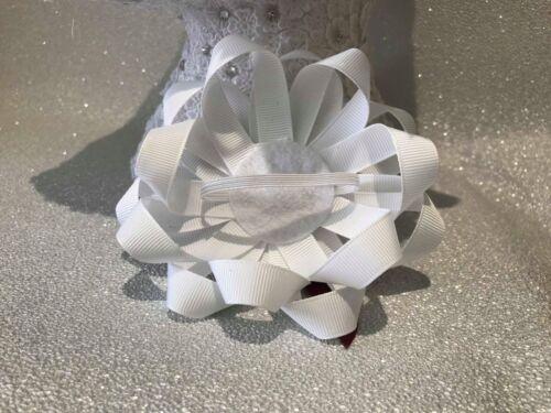 Handmade white//burgundy criss-cross large Romany hair bows with flower centre