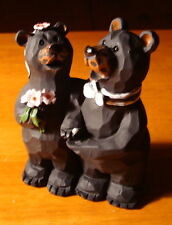 Black Bears Bride & Groom Wedding Figurine Cake Topper Lodge Log Cabin Decor NEW