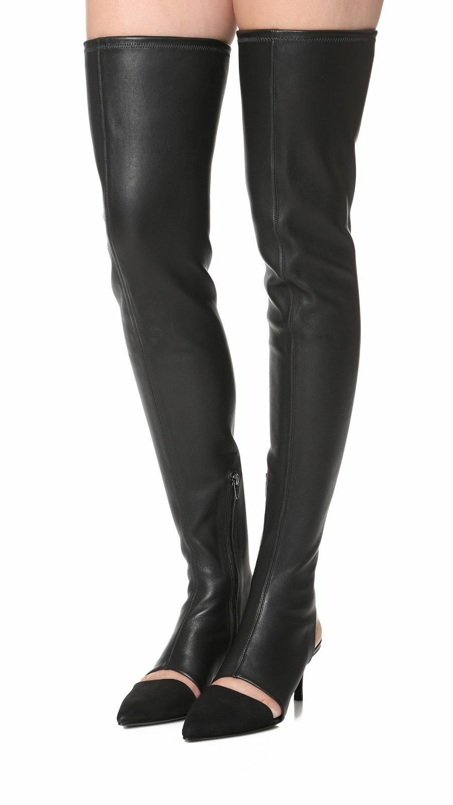 795+ Opening Ceremony GENEVOISE Over Knee Boots OTK Thigh High Black Leather 35