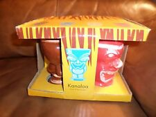 TIKI Ceramic Mugs Hawaiian Gods, Set of 4 12 OZ; KANE, KU,  KANALOA, LONO NEW