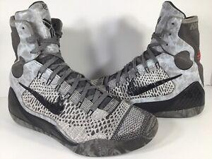newest 5ba89 7ad51 Image is loading Nike-Air-Kobe-9-Elite-Detail-Grey-Black-