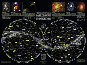 Star Map Art.A3 Poster Double Hemisphere Star Map Of The Galaxy Picture Space