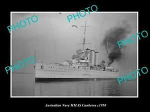 OLD-LARGE-HISTORIC-AUSTRALIAN-NAVY-PHOTO-OF-THE-HMAS-CANBERRA-SHIP-c1950-1