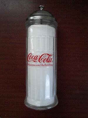 VTG TAB COCA COLA SODA METAL//GLASS DRINKING STRAW DISPENSER HOLDER JAR NEW