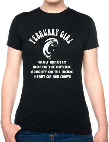 February Birthday Women/'s Joke Novelty Funny Ladies T Shirt