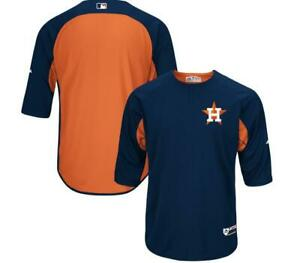 New-Majestic-Houston-Astros-Authentic-Collection-3-4-Sleeve-Batting-Jersey-XL