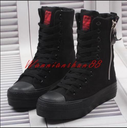 Womens Black Platform Hidden Heels High Top Canvas Sneaker zip Athletic Shoes