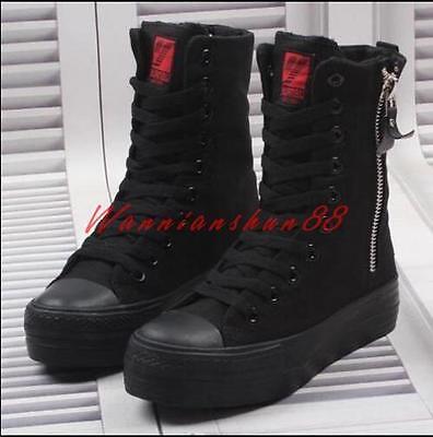 High Top Womens Black Platform Hidden Heels Canvas Sneaker Ziper Athletic Shoes