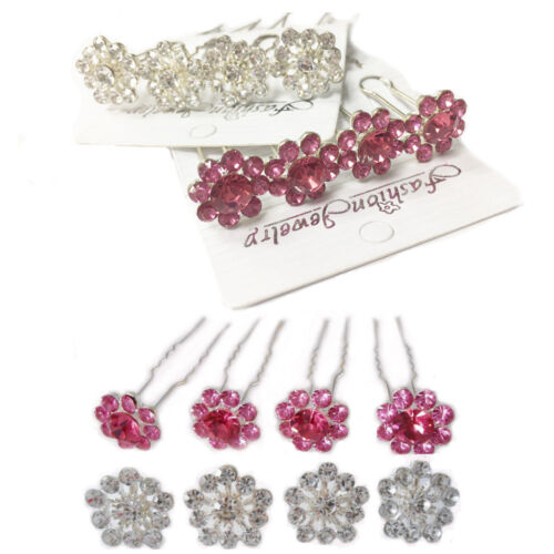 4 Pasadores para Pelo Bollo u titular de agarre Cristal Bling De Horquilla Nupcial Boda Diamante de Imitación