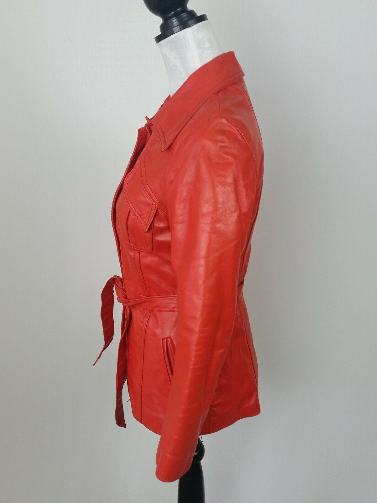 Vintage Orange Leather Womens Jacket Mod 1970s XS - image 4
