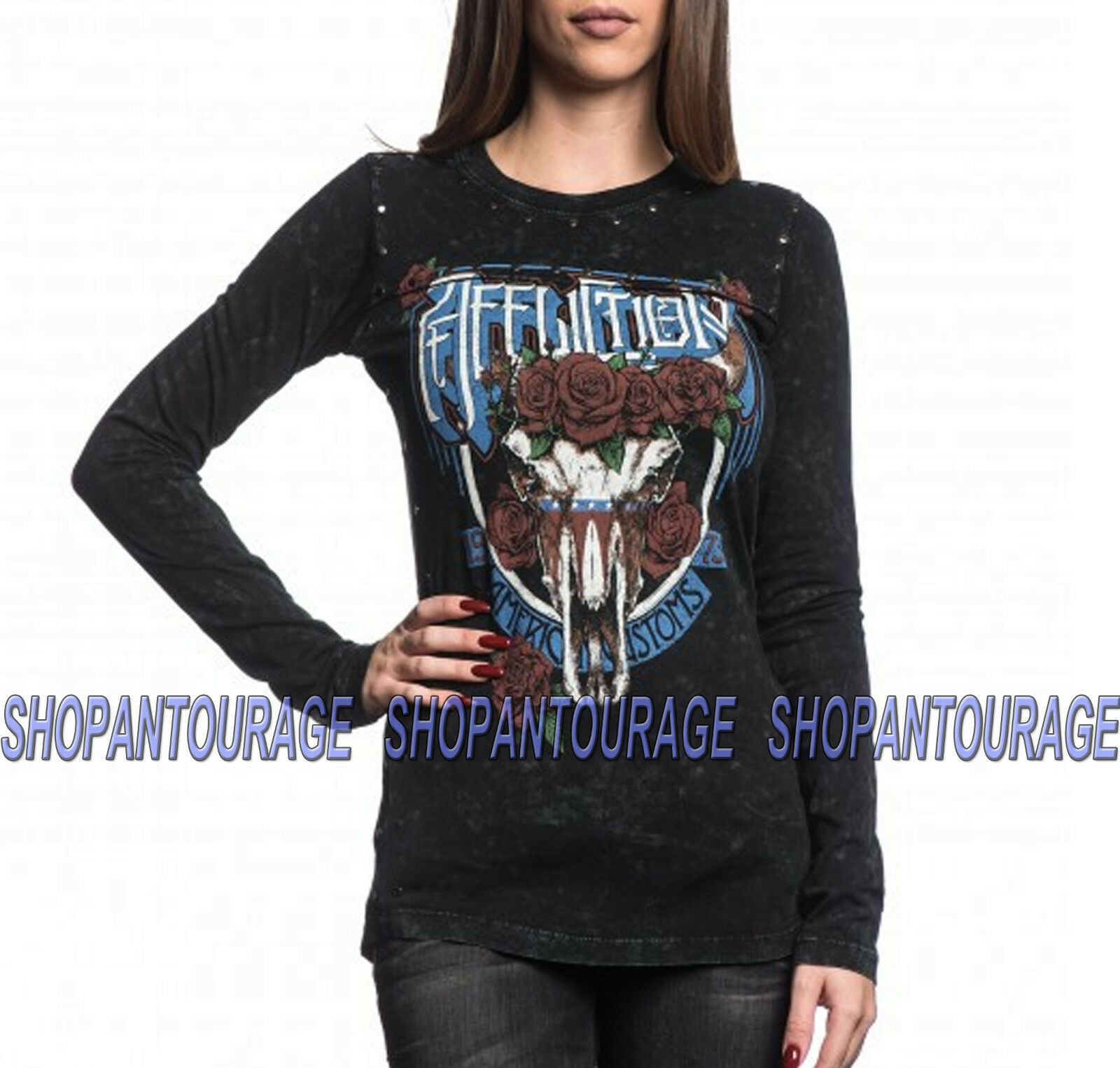 Affliction Blake AW13185 New Fashion Graphic Long Sleeve T-shirt Top For damen