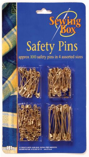 Sewing Box Gold Tone Assorted 4 Size 100 Safety Pins Household Craft Scarf Hijab