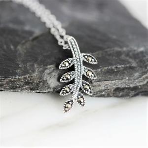 Sterling Silver Marcasite Vintage Inspired Leaf Leaves Necklace Pendant 42+3cm