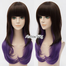 Women Ombre Dark Brown Mixed Purple Bang Party Lolita Long Wavy Cosplay Hair Wig