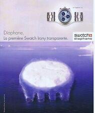 PUBLICITE ADVERTISING 075 2002  SWATCH  montre DIAPHANE
