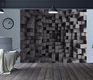 Image Is Loading Awesome 3D Optical Illusion Cubes Wallpaper Wall Mural