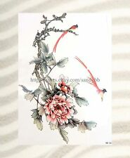 "US SELLER-birds peony flower large 8.25"" half-sleeve arm fake tattos"