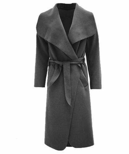 Femme Italien Waterfall Coat Belted Surdimensionné Duster Drapé Trench-coats
