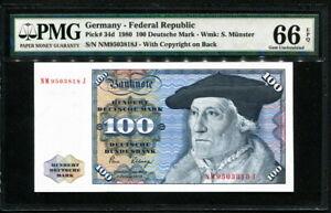 Germany-Federal-Republic-1980-100-Deutsche-Mark-P34d-PMG-66-EPQ-GEM-UNC