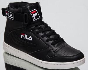 Fila FX100 Mid Top Hommes Noir Blanc Athlétique Casual Lifestyle Baskets Chaussures