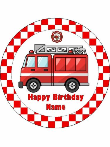 FIRE TRUCK 19cm Edible Icing Image Birthday Party Cake Topper Decoration