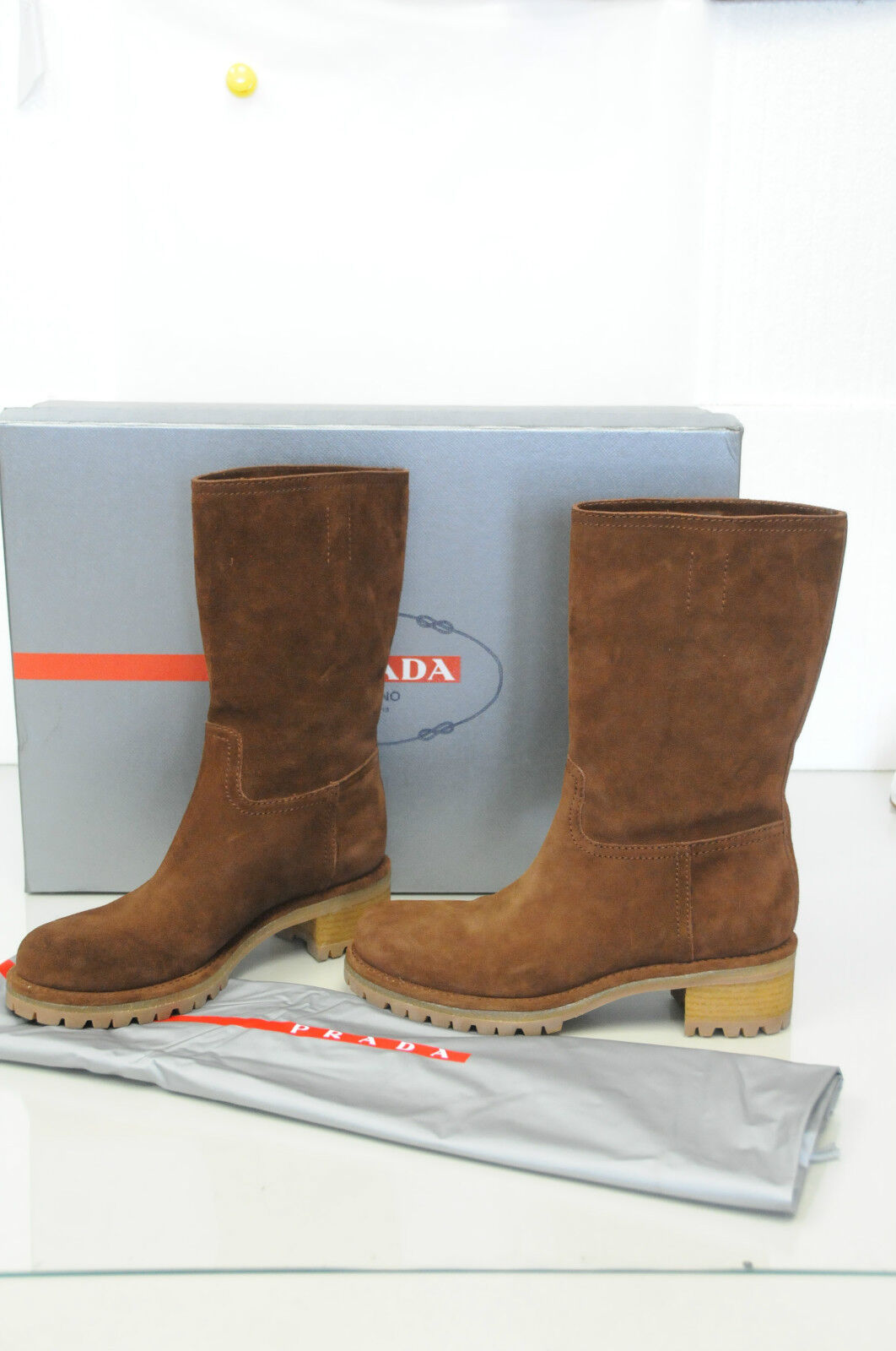 830 NEW PRADA  RIDING MOTO BIKER  Brown Suede Flat BOOTS SHOES 38.5
