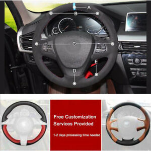 Custom Made Pu Leather Steering Wheel Cover Stitch On Wrap For Bmw
