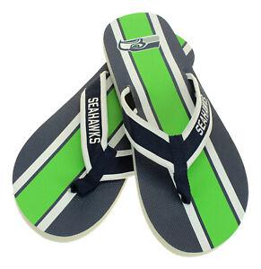 FOCO-NFL-Men-039-s-Seattle-Seahawks-Stripe-Wordmark-Thong-Sandals