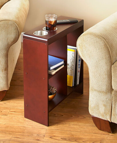 Side End Narrow Space Saving Table Drink Cup Holder Storage Bar Shelf Walnut Nautical Tables Home Garden - Sofa Side Table With Cup Holder