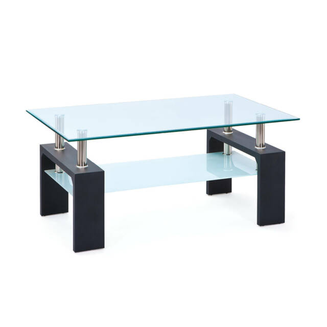 Table basse de salon rectangulaire design moderne plateau verre pied NOIR
