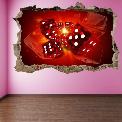 Casino Dices 3D Wall Art Sticker Mural Decal Poster Pub Decor HC15
