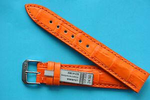 Louisiana-COCCODRILLO-vitello-cinturino-arancione-16-18-19-20mm-TEDESCO