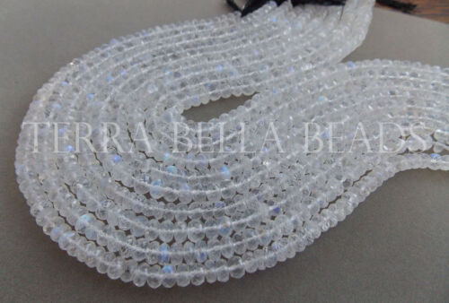 "10"" strand RAINBOW MOONSTONE faceted gem stone rondelle beads 5mm - 6mm"