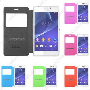 Housse-Coque-Etui-Fenetre-View-Flip-Cover-Sony-Xperia-Z5-Premium-Z5-Z3-Compact