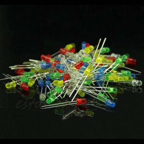 100Pcs//Set 3mm 5 Colours LED Lights  Diffused Assorted Superbright LED STUK