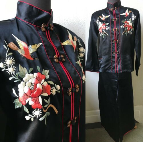 30's Vtg. Luscious Japanese Bird Embroidered Black