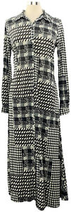 ATTITUDES-by-Renee-Small-Black-Menswear-Patchwork-Print-Button-Front-Maxi-Dress