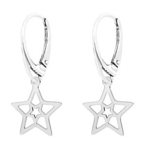 Image Is Loading Fashions Forever 925 Sterling Silver Star Leverback Earrings