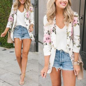 Women Ladies Floral Print Long Sleeve Jacket Casual Blazer Suit Coat Autumn S-XL