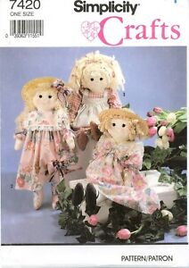 Simplicity-7420-24-inch-RAG-DOLL-Clothes-Dress-sewing-pattern-UNCUT-FF-VTG
