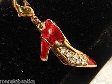 BEAUTIFUL SWAROVSKI HIGH HEEL SHOE GOLD TONE WITH RED ENAMEL CHARM