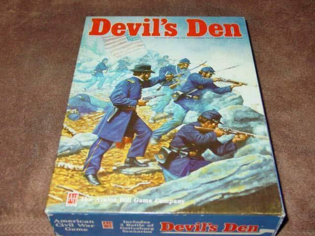 Avalon Hill Ah-DEVIL 'S DEN - 1863 bataille de  Gettysburg Game (85% non perforé)  100% authentique