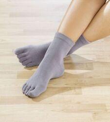 Zehensocken Damen Rehasocken Reha Socken Yogasocken Herren grau beige
