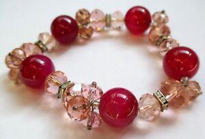 Bracelet Extensible Bijou Rétro Perles De Verre Fuchsia Et Rose à Facettes 5112
