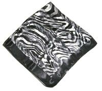 SCARF Large Square Black Light & Dark Gray Animal Print TIGER ZEBRA STRIPES