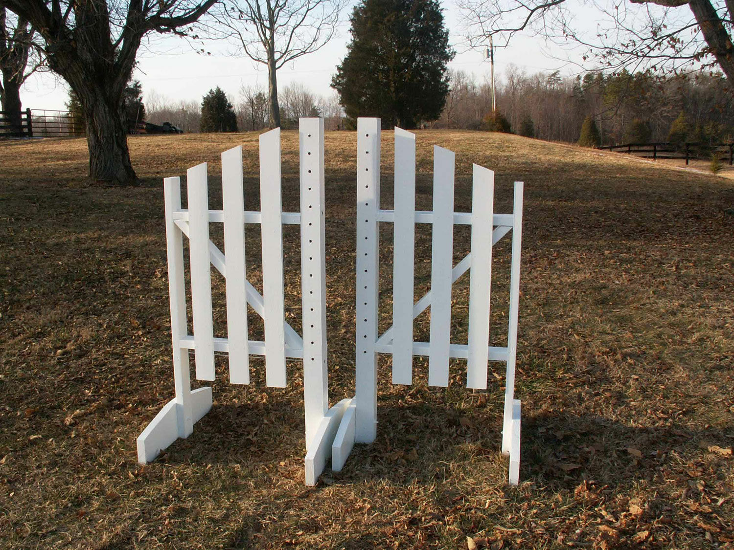 Horse Jumps 3 Panel Slant Wooden Wing Standards 5ft Pair  - White Natural  order now enjoy big discount